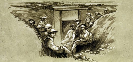 Illustration à l'intérieur de la pochette de l'émission commune Bataille de la crête de Vimy, crayons noir et blanc