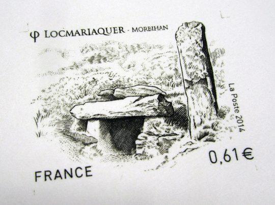 Épreuve d'artiste sans report, timbre-poste Locmariaquer, 2014 © Atelier Bougault-Desquand