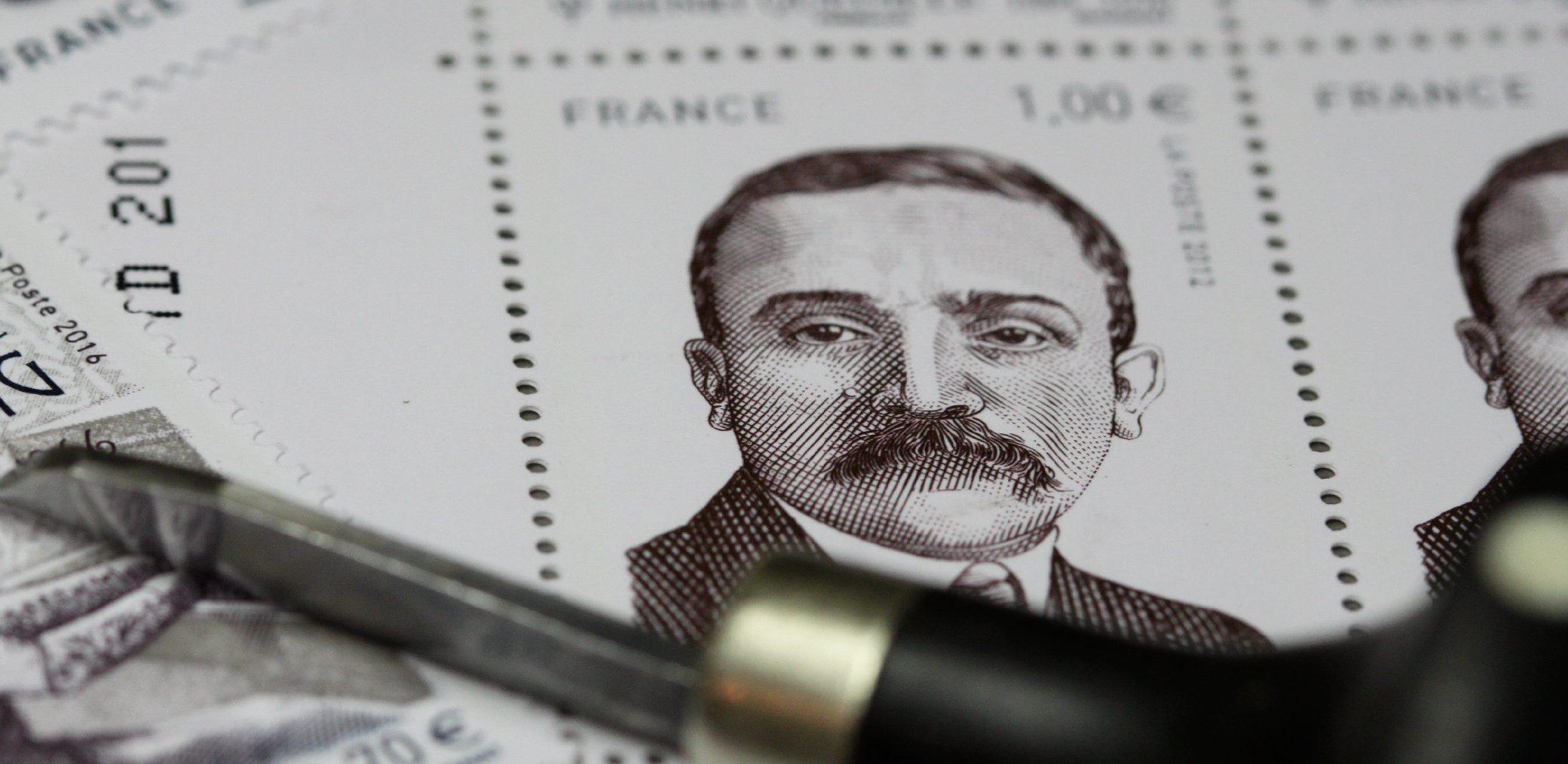 Planche de timbres, portrait d'Henri Queuille © Atelier Bougault-Desquand
