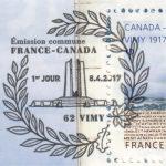Premier jour, oblitération du timbre à date Bataille de Vimy