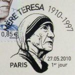 Premier jour, oblitération du timbre à date Mère Teresa