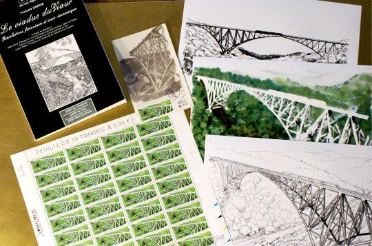 Le viaduc du Viaur, dessins préparatoires et planche de timbres
