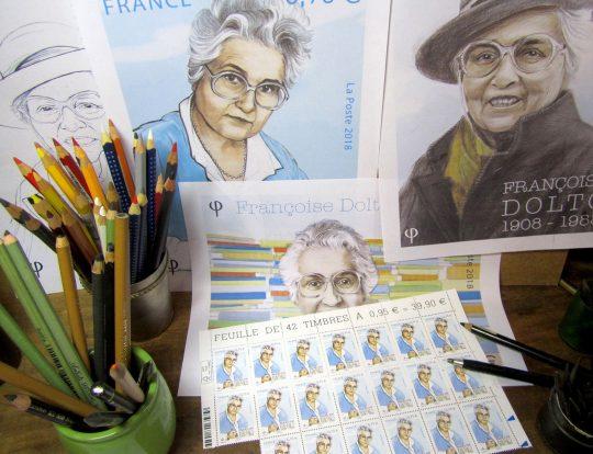 Portrait de Françoise Dolto, dessins préparatoires