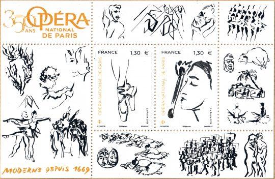 Bloc de timbres 350 ans de l'Opéra national de Paris