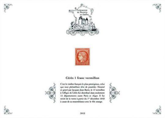 Réédition Cérès 1 franc vermillon, pochette Patrimoine de France 2019