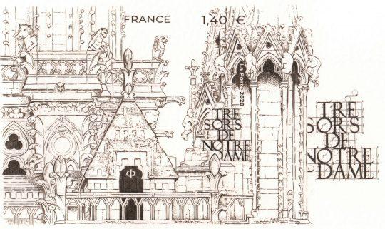 """Épreuve d'artiste, poinçon principal du bloc """"Trésors de Notre-Dame"""", impression Imprimerie du timbre, Boulazac 2020."""