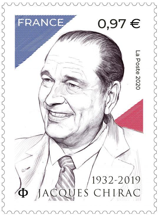 Maquette du timbre-poste Jacques Chirac